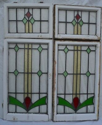 4 set leaded light stained glass window panels. R804. WORLDWIDE DELIVERY!!!