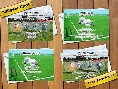 Zorb Bubble Football Themed Birthday Party Invitations Thank You Digital File