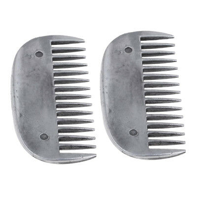 2pcs Metal Curry Comb Hair Brush Horse Pony Care Grooming Equine Tool 8x4cm