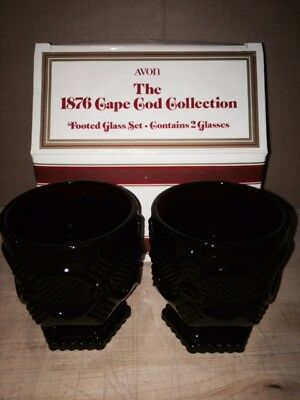 Avon 1876 Cape Cod Collection Ruby Red  Footed Glass Set w/Box (2 glasses)