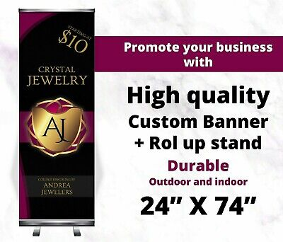"24""x66"" Roll Up Retractable Banner Stand + Free Printing, Trade Show, Pull up"