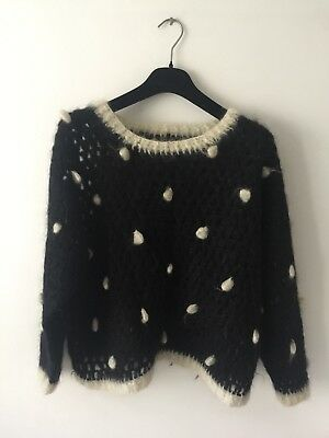 Retro Vintage Mohair Mix Jumper 70s 80s Dots Knitted Top Knitwear Wool