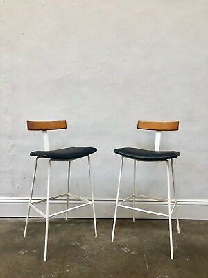 Vintage Pair of Kandya Frank Guille Program Bar Stools. Danish Mid Century