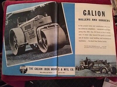 Vintage 1942 Galion Iron Works Marion OH Roller & Grader Road Equipment Ad