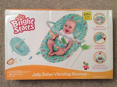 dd7b18f25ba2 NEW BRIGHT STARTS Jolly Safari Vibrating Baby Bouncer Soothing ...