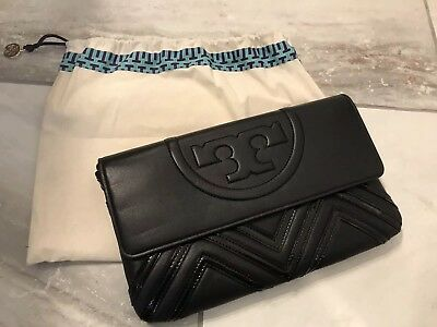 69697e23f949 NEW Tory Burch No 30650 Fleming Geo-leather Clutch Black Shoulder Bag- Black