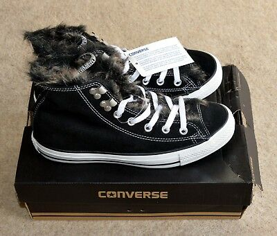 3480bfe1c0b5 CONVERSE Black Suede with Fur Lining High Tops Sz 6. BNWT Christmas Gift