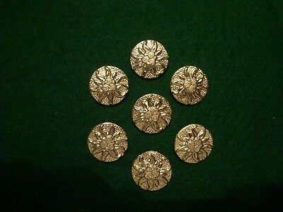Vintage German Edelweiss Circa 1930-40's Metal Buttons Lot Of 7 (#34)