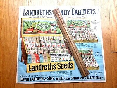 LANDRETHS' HANDY SEEDS CABINET 1894 chromolithogaph advertising Agriculture farm