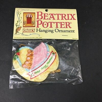 Beatrix Potter Schmid BABY'S FIRST CHRISTMAS 1986 Hanging Ornament