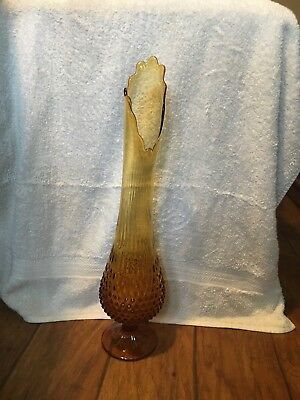 """Vintage Fenton Art Glass Colonel Amber Hobnail Vase Swung Footed 20"""" Tall"""