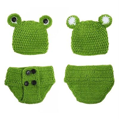 Newborn Baby Girls Crochet Knit Costume Frog Prince Photography Prop Outfits Dt