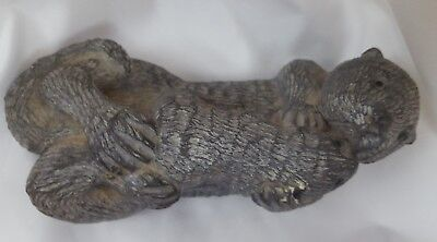 """The Wolf Sculptures Sea Otter And Baby Canada 5"""" 416 Soapstone Figurine"""