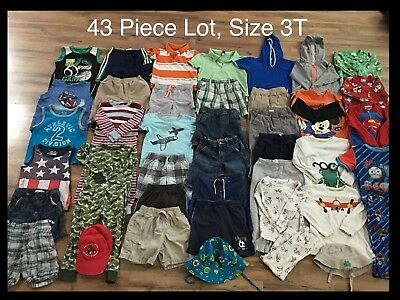 Toddler Boys Clothing Lot, 43 Pieces, 3T, Carter's, Disney, Circo, Jumping Beans