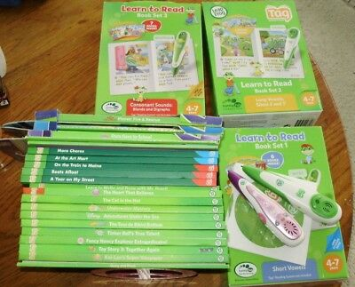 LeapFrog TAG Reading System 2 Pens Case 42 books lot 24 softcovers 18 hardcovers