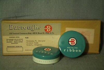2 vintage Burroughs Mainline Ribbon w/ tins  Clary adding machine typewriter