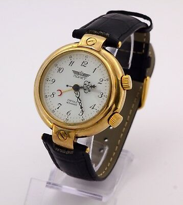 Poljot Alarm's & Vibrates Russian gold plated wristwatch. Cal.2612.1 Limited