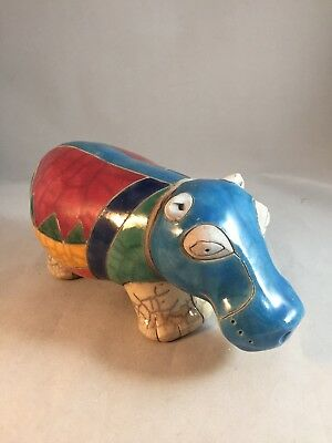 "Colorful Raku Pottery Hippo from South Africa Animal Figurine 8 1/2"" Signed"