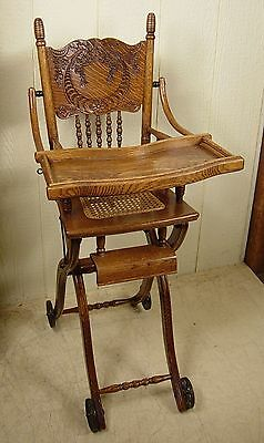Antique Oak Collapsible High Chair