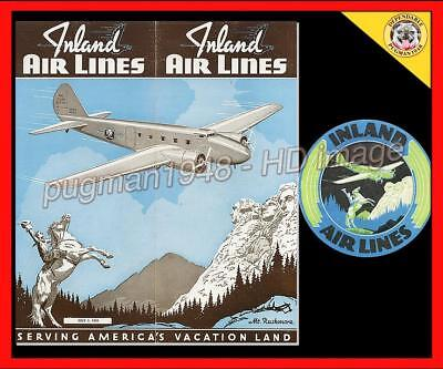 INLAND AIRLINES 1939 AIRLINE TIMETABLE SCHEDULE...Plus B247 luggage label