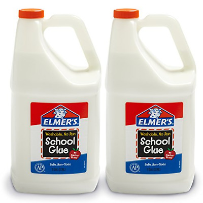 Elmers Liquid School Glue, White, Washable, 1 Gallon, 2 Count - Great For Slime