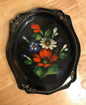 Vintage Russian Folk Art Tole Floral Scalloped/Black Lacquer Metal Tray