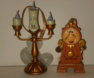 Disney Beauty And The Beast Light Up Lumiere Cogsworth Ornaments Set Of 2
