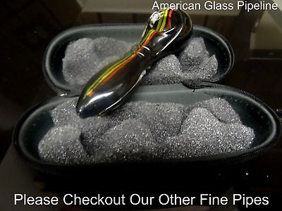 "Black Stripes, Glass Hand Tobacco Smoking Pipe. 5"" + Free Case & USA Made"