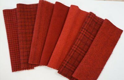 Cranberry Red HAND DYED RUG HOOKING WOOL Applique Red tones by Quilting Acres