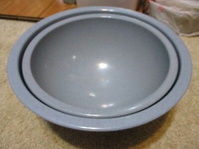 Antique Vintage Dusty Blue 2 Speckled Texas Ware Nesting Mixing Bowls Kitchen