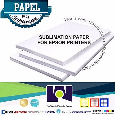 "100 Sheets 8.5""x11"" Dye Sublimation Heat Transfer Paper - Papel de Sublimación"