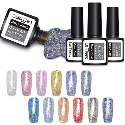 LEMOOC 8ml Platinum UV Gel Soak Off Gel Polish Glitter Shimmer Nail Art Gel