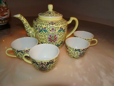 Vintage Chinese Export Porcelain Famille Rose Yellow Set  Tea Pot Four Cups