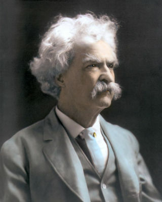"MARK TWAIN SAMUEL LANGHORNE CLEMENS AUTHOR 8x10"" HAND COLOR TINTED PHOTO"