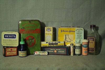 lot vintage old antique medical supplies medicine bottles tins decorators shelf