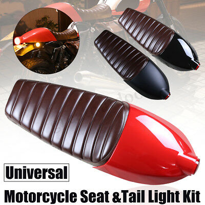 Universal Motorcycle Cafe Racer Seat With Cover And Tail Light For Honda Suzuki