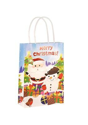 100 Christmas Paper Carrier Bags Handles Paper Party Gift Bags 15 x 22 cms