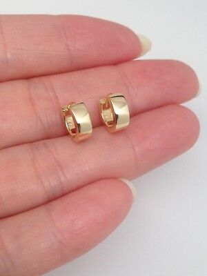 Sterling Silver 925 Small Huggie Hoop Earrings Tiny Plain Hoop Mens Womens 9x3mm