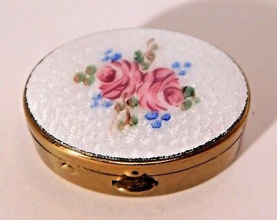 Vintage Enamel Top Gold Tone Pill Box with Dainty Roses