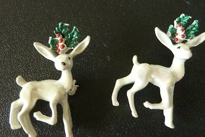 Vintage Iridescent White Prancing Christmas Reindeer Scatter Pins by Gerry's 2