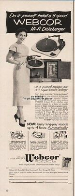 1954 Webcor Hi Fi Diskchanger Record Player Replace Your Old Player Print Ad