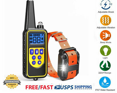 Waterproof 2600 FT Remote Dog Training Shock Collar Hunting Trainer Rechargeable