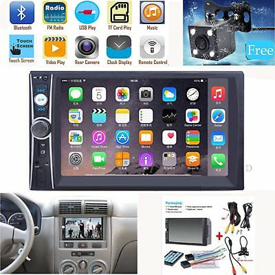 """Bluetooth Car Stereo Radio Touch Screen FM Player 7"""" HD MP5 + Rear View Camera"""