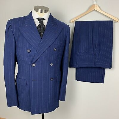 VTG 40s royal blue pinstripe 6 / 4 double breasted 38R wool gabardine suit