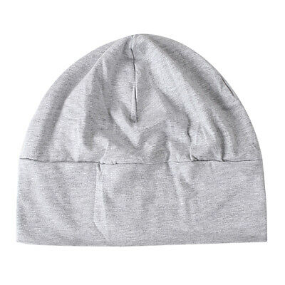 Unisex Light Gray Soft Cotton Night Cap Sleep Head Cover Beanie Skullcap Hat