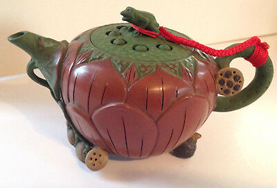 Vintage Yixing Teapot Chinese with great natural details and frog marked