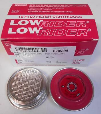 MSA Low Rider P100 Filter Cartridges Box of 10 NIOSH OSHA Approved 815177 NIB n