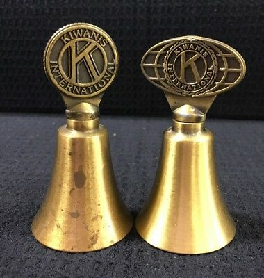 Set Of 2 Kiwanis International Small Brass Bells Clear Rings Made In Taiwan