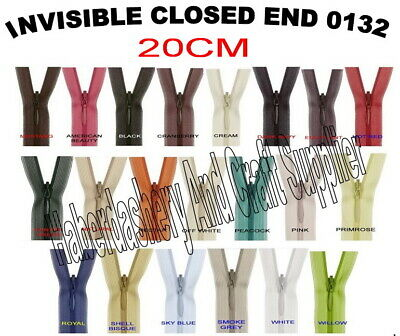 Birch Closed End Invisible Zipper/Zip*Pick 1 Color From List *Size 20Cm 8""