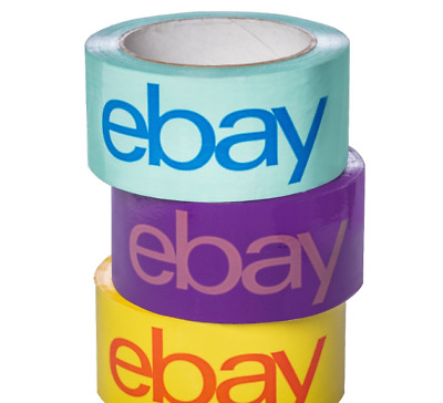 "NEW RELEASE 2"" x 75 yard Purple, Blue, and Yellow eBay-Branded Packaging Tape"